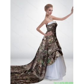 Popular A Line Strapless Camo Wedding Dresses with Court Train