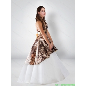 Popular Ball Gown Halter 2015 Camo Wedding Dresses with Bowknot