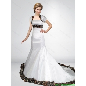 Popular Mermaid Strapless Camo Wedding Dresses in Court Train