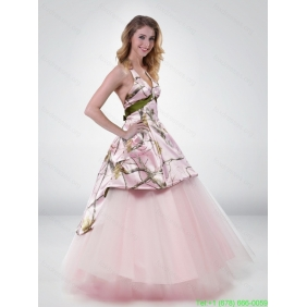 Popular Princess Halter Top 2015 Camo Wedding Dress with Belt