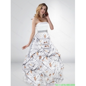 Popular Princess Strapless Camo Wedding Dresses with Sashes