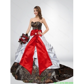 Popular Puffy Camo Wedding Dresses with Bowknot and Court Trai
