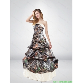 Popular Strapless Brush Train Camo Wedding Dresses with Pick Ups