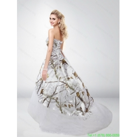 Popular Strapless Camo Wedding Dresses with Brush Train