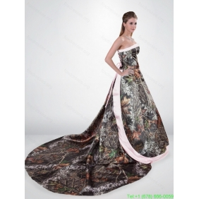 Popular Strapless Chapel Train Camo Wedding Dresses in Multi Color