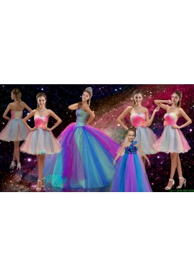Perfect Beaded Multi Color Quinceanera Dresses and Hand Made Flower Dama Dresses and Cute One Shoulder Little Girl Dresses