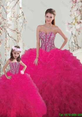 2015 Fall Classical Ball Gown Beaded and Ruffles Matching Sister Dresses in Hot Pink