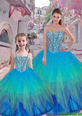 2015 Fall Classical Beaded Ball Gown Matching Sister Dresses with Sweetheart