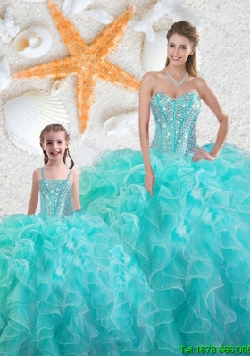 2015 Winter Beautiful Aqua Blue Matching Sister Dresses with Beading and Ruffles