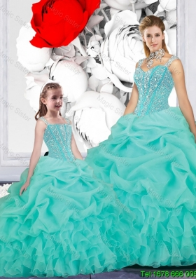 2015 Winter New Style Ball Gown Straps Matching Sister Dresses in Turquoise