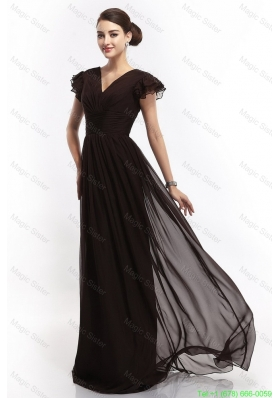 2016 Hot Sale V Neck Ruching Empire Brush Train Prom Dresses in Black
