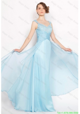 2016 Perfect Straps Ruched Light Blue Prom Dresses with Beading