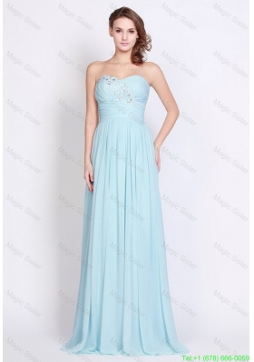 2016 Popular Light Blue Brush Train Prom Dresses with Side Zipper