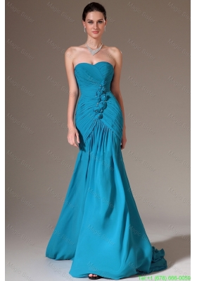 2016 Luxurious Column Sweetheart Prom Dresses with Brush Train