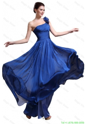 2016 Perfect Royal Blue One Shoulder Prom Dresses with Appliques and Ruching