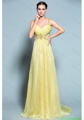 2016 Popular Empire Straps Prom Dresses with Beading