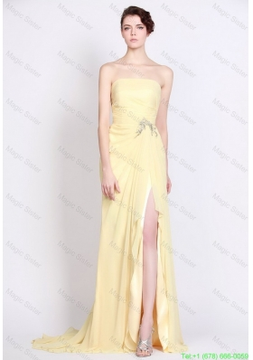 Beautiful Strapless Beaded and High Slit Prom Dresses in Yellow