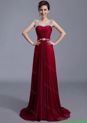 Cheap Brush Train Scoop Zipper Up Prom Dresses in Wine Red