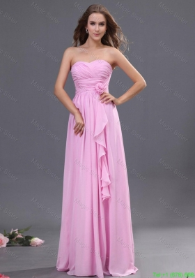 unique Ruching and Hand Made Flower Prom Dress in Rose Pink