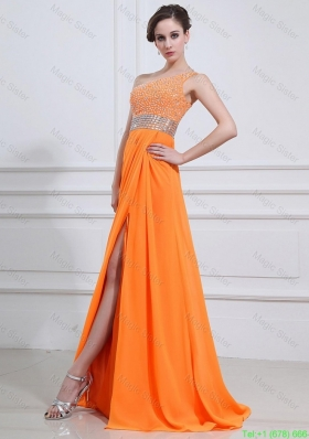 2016 Exquisite Beading and High Slit Orange Prom Dresses with Brush Train
