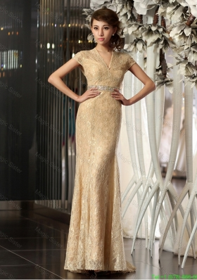 2016 New Style Column V Neck Lace Prom Dresses with Brush Train