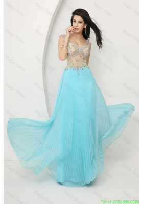 2016 Perfect Beaded Straps Zipper Up Prom Dresses with Cap Sleeves