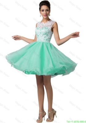 Elegant Laced Scoop A Line Prom Dresses in Apple Green