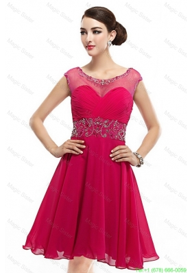 Exquisite Mini Length Scoop Hot Pink Prom Dresses with Cap Sleeves