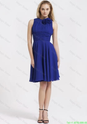 Fashionable Short Royal Blue Prom Dresses with Hand Made Flowers