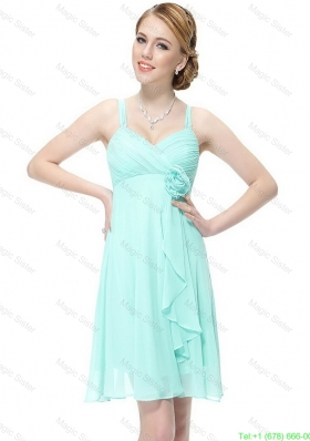 New Style Short Hand Made Flowers Prom Dresses with Straps