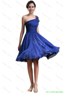 2016 New Style One Shoulder Short Prom Dresses in Royal Blue