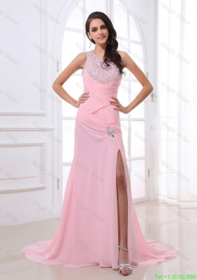 Cheap Column Brush Train Prom Dresses with High Slit and Beading
