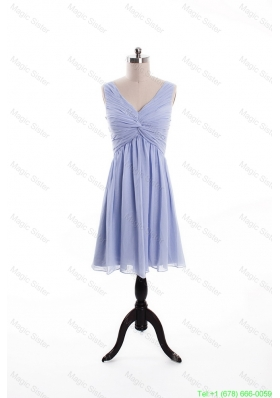 Beautiful Ruching and Beading Lavender Short Prom Dresses