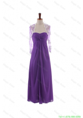 Pretty Empire Strapless Prom Dresses with Ruching in Eggplant Purple