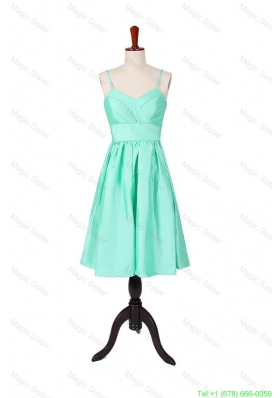 2016 Summer A Line Spaghetti Straps Apple Green Prom Dresses