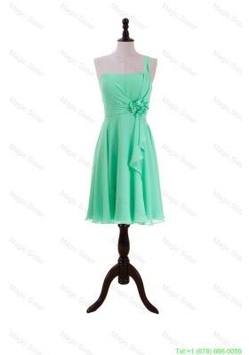 2016 Summer Apple Green Prom Dresses with Hand Made Flower and Ruffles