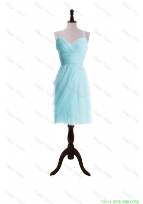 2016 Summer Pretty Empire Spaghetti Straps Prom Dresses in Light Blue