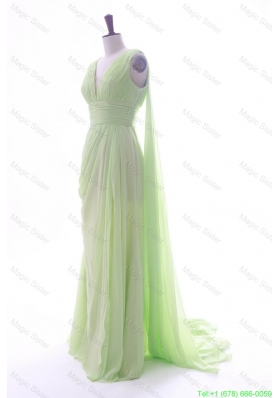 Romantic Empire V Neck Ruching and Pleats Prom Dresses with Watteau Train