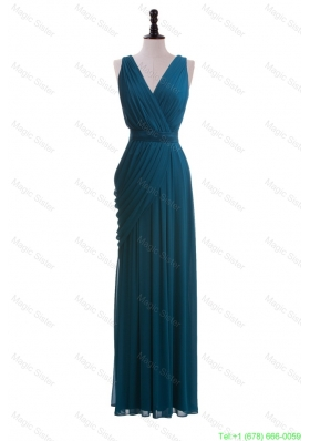 Gorgeous V Neck Belt and Ruching Long Prom Dresses for 2016