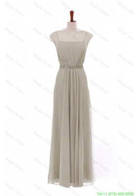 Simple Bateau Grey Long Prom Dresses with Beading and Sashes