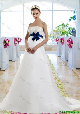 Beautiful Beaded and Bowknot Wedding Gowns with Chapel Train