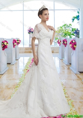 Best Selling V Neck Wedding Gowns with Short Sleeves for 2015
