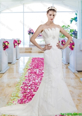 Exclusive Strapless Beaded Brush Train Wedding Dresses with Lace