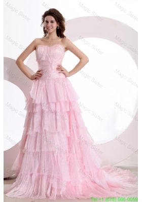 Exquisite A-line Sweetheart Court Train Ruching Pink Prom Dress