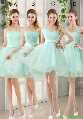 2016 Spring A Line Ruching Bridesmaid Dresses with Belt in Apple Green