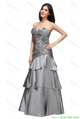 A-line Gray Sweetheart Appliques and Ruching Ruffled Layers Prom Dres