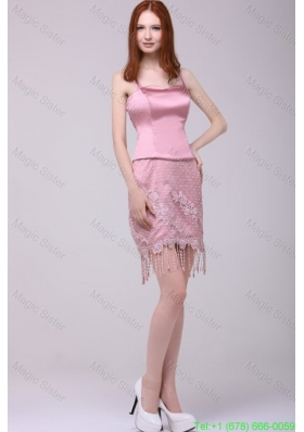 Column Rose Pink Sapghetti Straps Lace Satin Prom Dress
