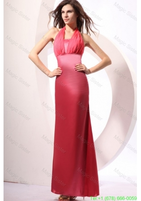 Coral Red Prom Dress with Halter Top Ankle-length Satin