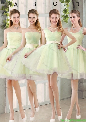 Custom Made Mini Length Bridesmaid Dresses in Yellow Green