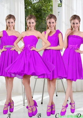 Pretty Sweetheart Beading Short Bridesmaid Dresses in Purple